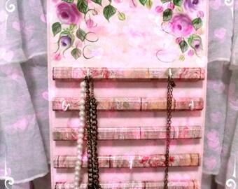 Handpainted Jewelry Organizer Shabby Roses Pink Cottage Chic Romantic!