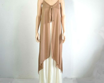 70s Grecian Layered Maxi Dress Vintage Knit Gown Vanilla and Mocha extra small to small