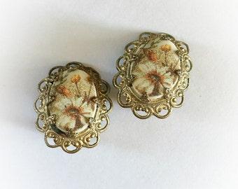 Vintage West Germany Flower Earrings Clip On
