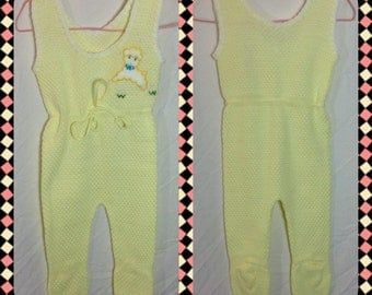 Infants Yellow Sweater Footed Jumper with Shoulder Buttons and Lamb Applique