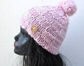 Chunky Pom Pom Beanie  - Soft Pink - Winter Fashion Accessory