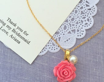 Bridesmaid, necklace, rose, pearl, in GOLD plated, comes with personalized card and ORGANZA BAG.