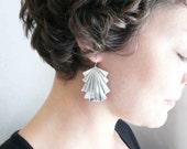 Large silver earrings. Art deco earrings. Big silver dangles. Silver art deco dangles. Lightweight. Geometric. Sterling silver ear wires.