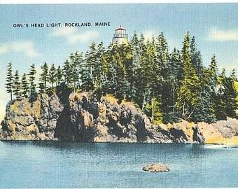 Maine Vintage Postcard - Owl's Head Light (Unused)