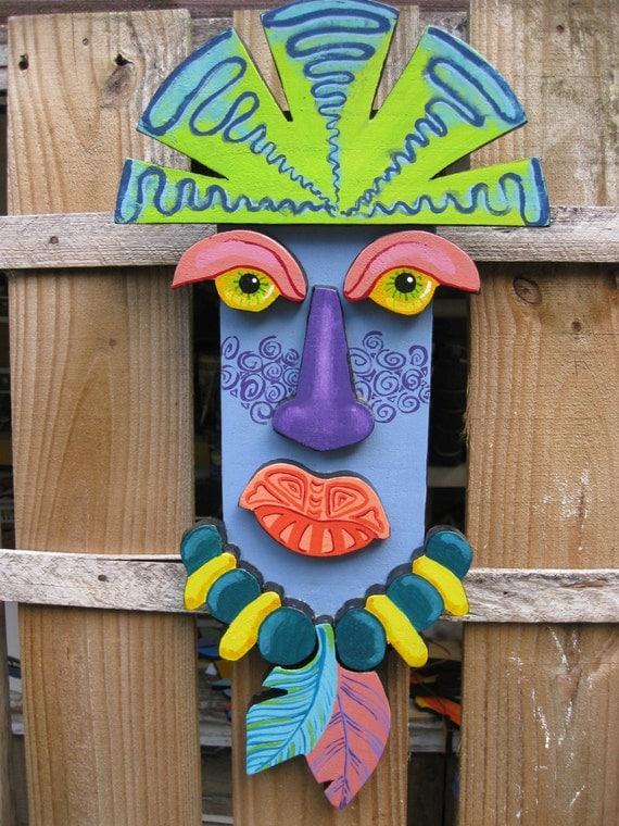 Outdoor pool wall decor : Tiki guy painted wood wall decor indoor outdoor deck pool