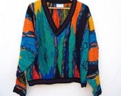 COOGI Australia Awesome Pattern Bright Bold COLORFUL 3D Mens Sweater Cropped, Med Large Mercerised Cotton Coogi Hip V Neck Multicolor M or L