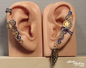Gold & blue STEAMPUNK EAR CUFF set - cartilage ear cuff, earwrap, no piercing earcuff, adjustable ear cuff, steampunk jewelry, gear ear cuff