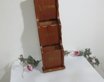 Letter Holder Mail Organizer Wood Wall Hanging