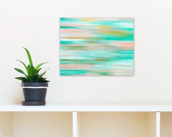 Abstract Painting, 11x14 Original Acrylic on Canvas Wall Art, Ocean inspired Beach Home Decor, turquoise aqua gold white pink