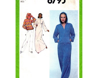 Hoodie Top or Dress Pattern Simplicity 8793 Hooded Zipper Front Maxi Dress, Caftan Dress Beach Cover Up Womens Sewing Pattern Size 10 UNCUT