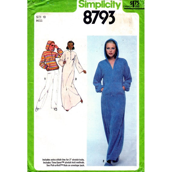 Hoodie Top or Dress Pattern Simplicity 8793 Zipper Maxi Caftan Beach Cover Womens Size 10