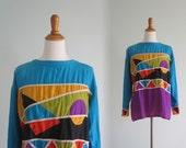 RESERVED Chic 80s Silk Patchwork Top - Vintage Geometric Silk Blouse - Vintage 1980s Silk Shirt S M