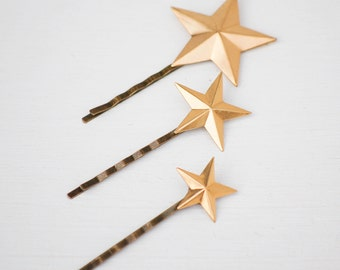Gold Star Bobby Pins, Gold Star Hair Pins, Gold Stars, Celestial Jewelry, Bohemian Hair, Constellation Stars, Zodiac Stars, Bohemian Bride