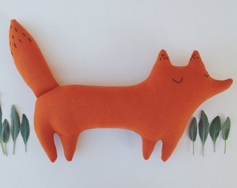 Huckleberry the stuffed toy fox, orange woodland fox, woodland nursery, woodland decor, fox plushie, fox pillow