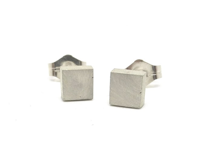 Small Sterling Silver Square Studs- Unisex