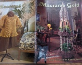 vintage 70s macrame patterns MACRAME GOLD owl sts. nick wall hanging picture frames purses sweater ships wheel