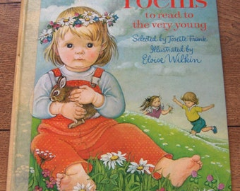 Vintage book 80s Big Book -  Poems to read to the very young Eloise Wilkin children boy girl hc