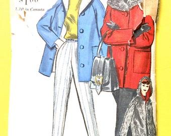 1950s Vogue 5120 Vogue 5120 Reversible Coat  Slacks Short, straight coat shawl collar tapered pants Vintage Sewing Pattern Bust 32  Hip 34