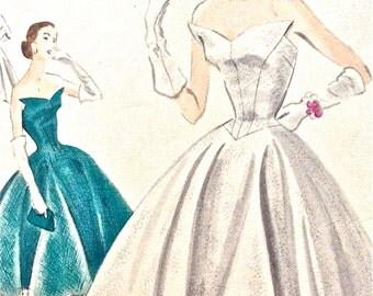 Vogue S-4300 Special Design 1950s Evening Gown OnePiece Dress circular skirt  Strapless Center back closing Vintage Sewing Pattern Bust 32