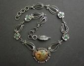 Ocean Jasper & Kingman Turquoise Flower Necklace, Sterling Silver Necklace