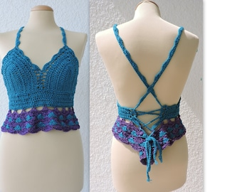 Vibrant bohemian crochet halter top