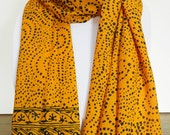 Yellow Batik Scarf Women's Summer Fashion Accessory - Rayon Chiffon Scarf - Long Scarf - Super Soft Scarf - Batik Sarong - Gift for Her