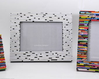 Set of 3 colorful picture frames - made from recycled magazines, blue, green, red, purple, pink, yellow, oranges