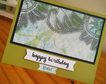 Happy Birthday Card - Olive Green Masculine