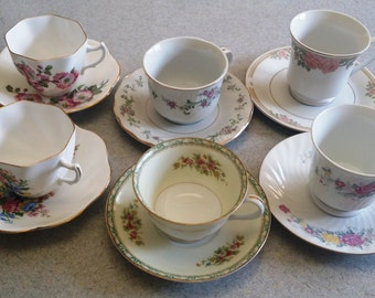 Six Tea Cup and Saucer Sets for Wedding - Bridal Shower - Hostess Gift - House Warming - Best Friend