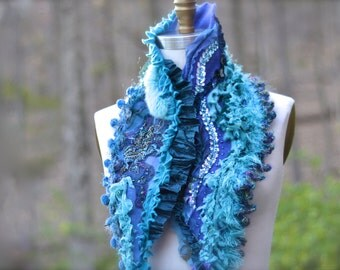 Cashmere angora textured SCARF Wrap with crochet ruffles, pom poms and beaded applique