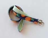 Lanyard ID Badge Holder - navy pineapples with mint green - Lobster clasp and key ring