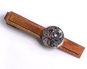 Steampunk Vintage Bulova Watch Movement Brass Tie Bar Alligator Clip
