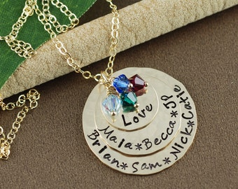 Personalized Gold Necklace, Personalized Mom Jewelry, Birthstone Jewelry, Mothers Necklace, Gift for Mom, Mothers Day Gift, Gold Layered