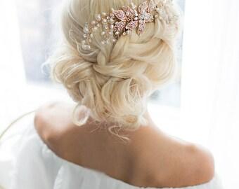Rose Gold Leaf Hair Vine Wedding Headpiece, Boho Gold Silver Wire Hair comb, Wedding Rose Gold Hair vine leaves, Boho Headpiece - 'EMMALINE'