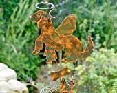 Golden Retriever Decor / Angel Dog / Pet Memorial / Metal / Garden Stake / Copper Garden Art / Sculpture / Outdoor / Handmade / Home decor