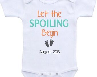 Pregnancy Announcement onesie ® brand Bodysuit. Let the Spoiling begin. Pregnancy reveal. Gift for grandparents. Baby announcement ideas