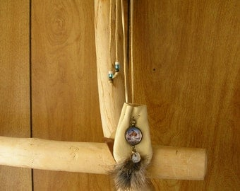 "Winter Maiden buckskin leather pouch with feathers, stone & glass charms, 36"" long beaded, adjustable cord, pouch is 3"" x 2.5"""