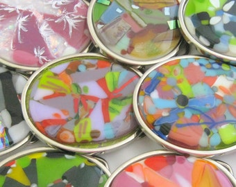 unique removable art glass belt buckles, round, oval