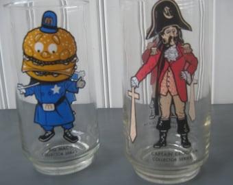 Vintage Mc Donald Glasses Captain Crook Hamburglar Tumblers Collector Series