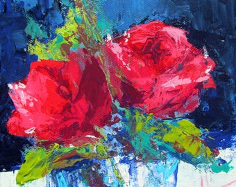 Red Roses Original Palette Knife Acrylic Painting Small Square 6x6 inches Canvas by Anne Thouthip Free Shipping To US Address