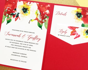Red Floral Wedding Invitations, Pocketfold Wedding Invitation, Pocket Wedding Invitation, Wedding Invite, Tabitha Red Spring Floral Wedding