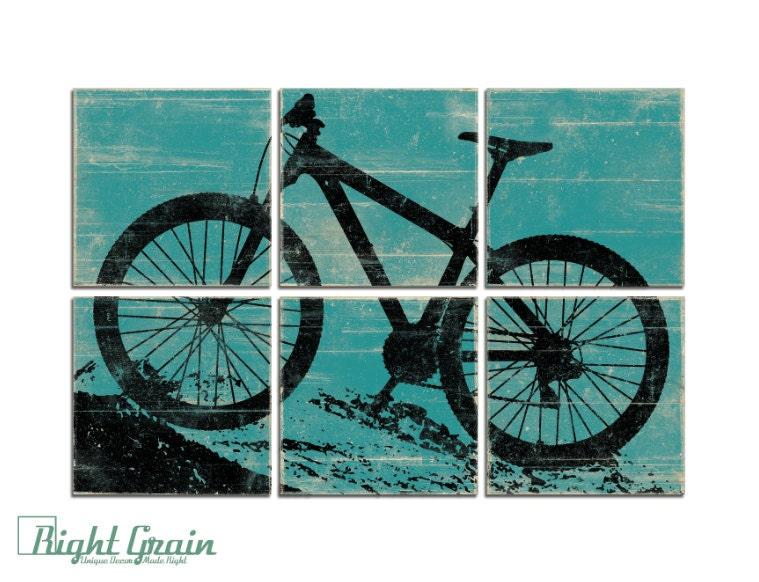 Mountain Bike Wall Art Large Rustic Bike Art by ...