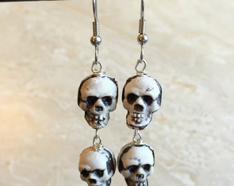 Skull Earrings - Black and White Skull Dangle Earrings