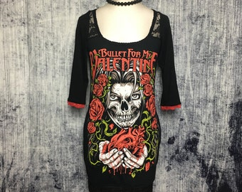 RESERVED FOR TALIA // Bullet For My Valentine Women's Mini Dress // Reconstructed T-Shirt // Size X-Small // Metal Rocker Alternative Horror