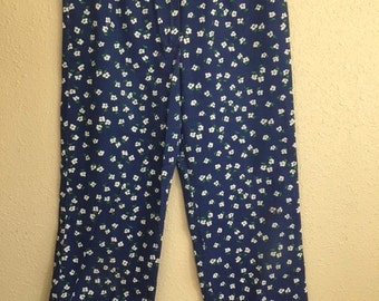 Vintage Blue DAISY Pants With Pockets / Wide Leg FLORAL Womens Pants / Small Medium