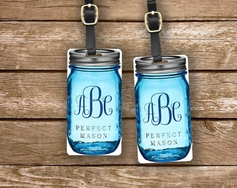 Custom Monogram Mason Jar Cottage Chic Blue Personalized Luggage Tags Metal Tag Set - Personalized Address or Info on backs - 2 Tags