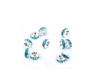 Aquamarine  Crystal  Rondelle Spacer Charm Beads , 24 Pcs , 6mm Crystal Rhinestone Spacer Beads