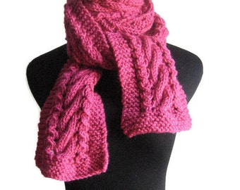Hand Knit Scarf, Raspberry Cable and Lace Scarf, Vegan Knits, The Stef Scarf, Pink Fall Scarf, Knit Pink, Womens Accessories