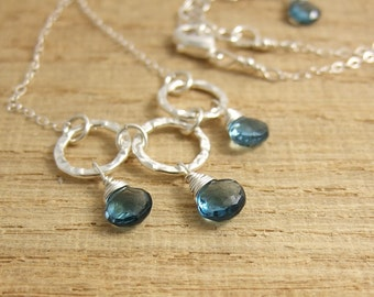 Necklace with London Blue Topaz Teardrops and Three Textured Loops CDN-655