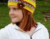 Girls Skull Cap Fitted Beanie Womens Crochet Hat Spring Beanie Striped Hat Multi-Color Winter Hat Flower Hat Yellow Hat